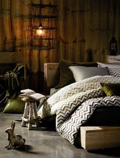 i love this lamp idea! I think its old fishing nets....?