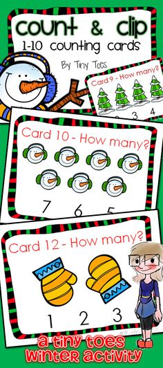 Looking for a fun way to keep your PreK and Kinders engaged? My little guys love these winter themed counting cards!  We use them in many different ways: Use a dry erase marker or vis-a-vis pen to circle the correct number; Use a clothespin to clip the correct answer; Roll small circles of playdoh and put on each image and count; put cereal, such as Cherrios or Fruit Loops on each image and count.