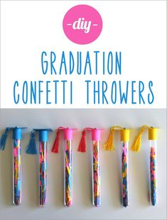 """These #DIY graduation confetti throwers bring an all new meaning to """"Caps off!"""" #craft #graduation #classof2013"""