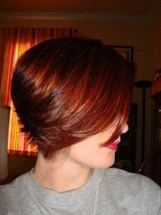 short wedge cut in copper red