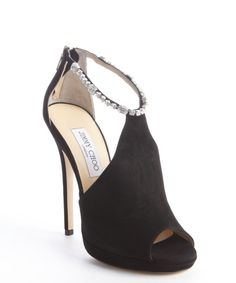 Jimmy Choo black suede vamp with crystal ankle detail