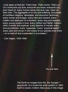 Look again at that dot. That's here. That's home. That's us. On it everyone you love, everyone you know, everyone you ever heard of, every human being who ever was, lived out their lives... our species lived there-on a mote of dust suspended in a sunbeam.  Carl Sagan