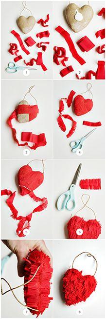 DIY Fringe 3-D Heart
