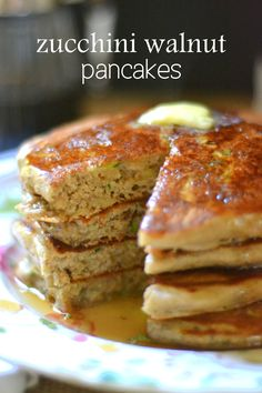 Whole grain Zucchini and Walnut Pancakes --- these look delicious!