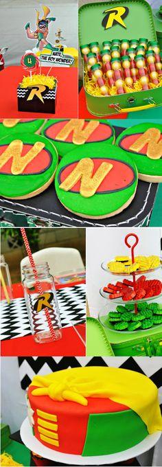 Robin Superhero Themed Birthday Party with TONS of ideas!! Via Karas Party Ideas KarasPartyIdeas.com #robin #themed #batman #superhero #birthday #party #supplies #decorations #ideas