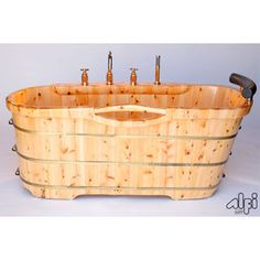 "Alfi AB1136 61"" Free Standing Cedar Wood Bath Tub With Chrome Tub Filler baths, tubs, dream, free stand, cedar wood, bathtub, bath tub, rustic cabin decor, rustic cabins"