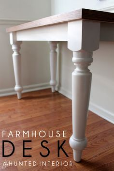 diy desk, farmhouse table, offic, craft tables, computer desks, farmhous desk, diy farmhous, farm houses, table legs