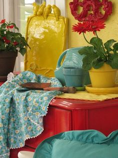 Colorful porch pretties (from Dear Daisy Cottage)