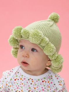 Bernat Softee Baby Pompom Baby Hat - What could be cuter than a #pompom brim? Babies will love moving and grooving in this #knit Softee Baby hat!