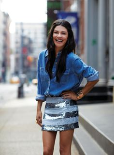 { chambray shirt with sequin skirt }