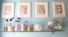 DIY Framed shell bathroom beach house cottage wall art