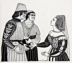 THE DUCHESS OF MALFI by ERIC FRASER, pen and ink with bodycolour