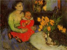 Mother and child behind the bouquet of flowers - Pablo Picasso