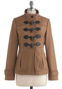Seen the Delight Coat by Tulle Clothing - Mid-length, Brown, Buttons, Pockets, Long Sleeve, Solid, Casual, Fall, Winter, 3