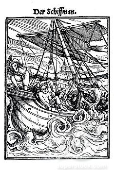Woodcut, The Mariner, Hans Holbein the Younger, Dance of Death, 1538