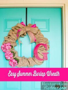 Easy Summer Burlap Wreath - Restoration Redoux http://www.restorationredoux.com/?p=8790