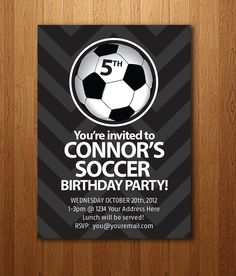 Soccer Birthday Party Invitation Personalized and by HuntersPlace, $14.00
