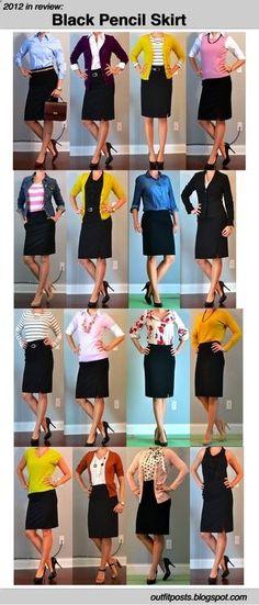 Black Pencil Skirt 16 Ways. Great interview outfits Lauren