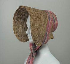Straw Bonnet with Taffeta Ribbon, 1835.