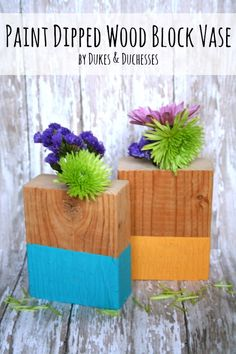 paint dipped wood block vase