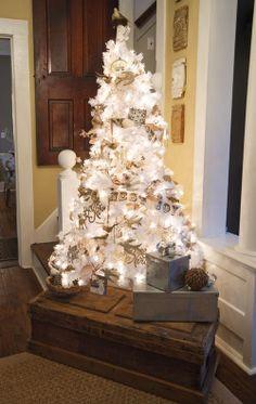 white christmas trees, white tree, silver christmas, vintage christmas, christma decor