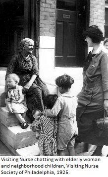 Visiting nurse chatting with elderly woman and neighborhood children. Visiting Nurse Society of Philadelphia, 1925. Image courtesy of the Barbara Bates Center for the Study of the History of Nursing.