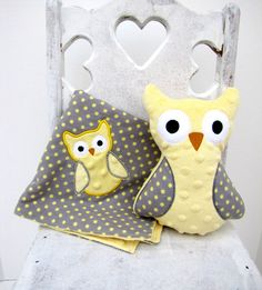 Yellow Gray Polka Dot Owl and Blanket and -- Appliqued Baby Blankie. $25.00, via Etsy.