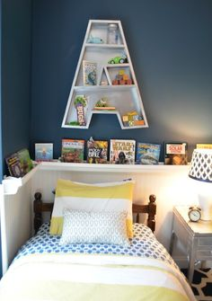 "I love the cornflower/marigold color combination. Definitely marigold with some shade of blue! :) That ""A"" shelf is sweet, too!"