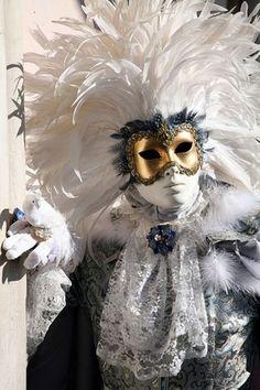 Venetian, Mardi Gras, Carnival, Carnivale, Masks. Masquerade. Gold, blue, white, gray. Feathers.