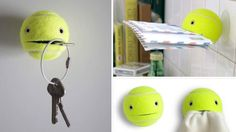 Use Tennis Balls to Hold Just About Any Small Item Around the House... - and it's cute!