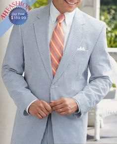 Men's Blue Seersucker suit. $180