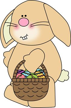 Easter bunny carrying an Easter basket.