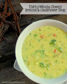 Thirty-Minute Cheesy Broccoli & Cauliflower Soup
