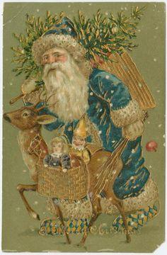 Un Santa Claus vestido de azul
