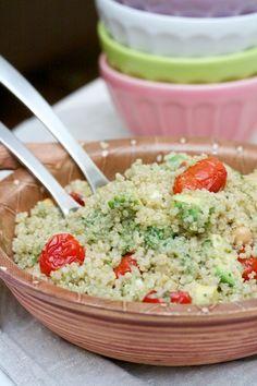 Roasted tomato, quinoa, mozzarella salad with basil dressing