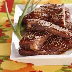 Maple Glazed Ribs Recipe from Taste of Home -- shared by Linda Kobeluck of Ardrossan, Alberta