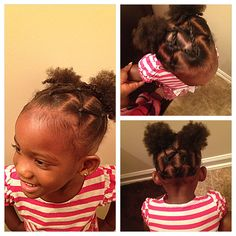 Rope twists into two puff balls // natural hairstyles for toddlers