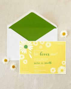 He Loves Me Bridal Shower Invitations. Daisy theme for spring.