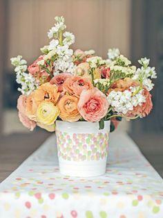 flower arrang, color, mothers day party, peach, parti