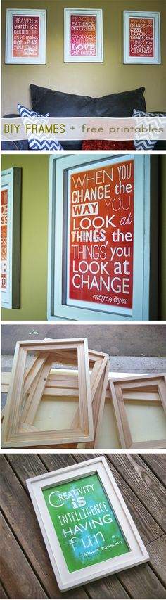 DIY Barnwood Frames from Ana White Plan + free inspirational printables by @savedbyloves
