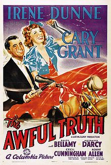 The Awful Truth is a 1937 screwball comedy film starring Irene Dunne and Cary Grant. The plot concerns the machinations of a soon-to-be-divorced couple, played by Dunne and Grant, who go to great lengths to try to ruin each other's romantic escapades. The film was directed by Leo McCarey, who won the Academy Award for Best Director, and was written by Viña Delmar, with uncredited assistance from Sidney Buchman and Leo McCarey, from the 1922 play by Arthur Richman.