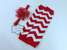 Red Chevron Leg Warmer and Headband Set Baby by LauraBethCreations, $8.99