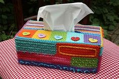 haken, button, handkerchief box, tissue boxes, knit