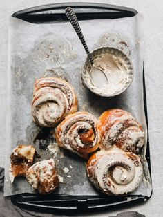 giant cinnamon buns with cold brew cream