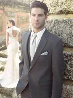 Steel Grey Allure Men by Jean Yves gives the look of a 3-piece suit, shown with Larr Brio Celebration Dot self-tie Long Tie