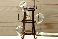 Hand Forged Iron Glass Dryer Rack - From Antiquefarmhouse.com - http://www.antiquefarmhouse.com/current-sale-events/accent15/hand-forged-iron-glass-dryer-rack.html