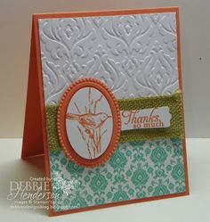 "Cardstock: Calypso Coral, Whisper White DSP: Eastern Elegance Tools: Big Shot Machine, Beautifully Baroque Embossing Folder, Designer Frames Embossing Folder, Stampin' Dimensionals, Sticky Strip, Wide Oval Punch, Modern Label Accessories:1 1/4"" Burlap Ribbon Stamps Simply Sketched Hostess Inks: Calypso Coral"