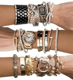 cartier bracelets - now that's how to stack bracelets