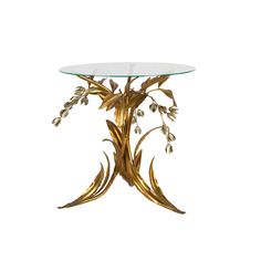 Tole Gold Table with Glass Top