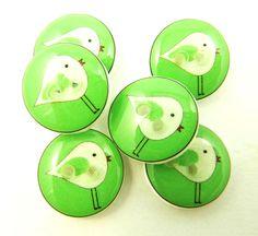 button treasur, green bird, handmad button, amaz button, small bird, button white, bird button